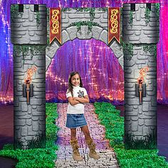 Bring your kingdom to life with our exclusive Fantasy Knights Castle Entrance. This cardboard prop is printed on one side and measures 9 feet 4 inches high.