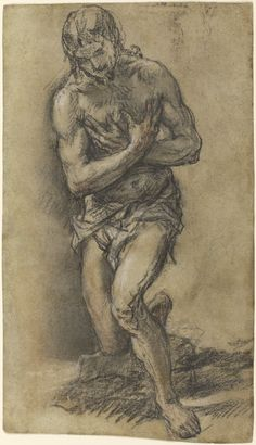 Juan Carreño de Miranda Christ Baptized , 1682 Charcoal, red and white chalk, with stumping 13 x 7 in. Anatomy Drawing, Guy Drawing, Drawings For Him, Figure Drawings, Baptism Of Christ, Spanish Artists, Spanish Painters, Pieter Bruegel The Elder, Chalk Ink