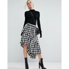 ASOS Deconstructed Midi Skirt in Gingham (€37) ❤ liked on Polyvore featuring skirts, multi, high-waisted skirts, high rise skirts, gingham skirt, ruffle skirt and checkered skirt