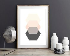 Geometric Hexagon Poster by Black & Boo Design. This artwork is a simple and affordable way to decorate your home. The print is the ideal accent piece - it will grab attention, but it won't overwhelm and it will work with just about anything! Abstract Art Geometric Poster Hexagon Print Scandinavian Modern Art Print Contemporary Art Geometric Decor Home Office Desk Accessories
