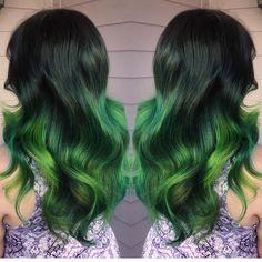Slytherin Pride by @amandahair3ypotterhead green hair painting neon green ombre hotonbeauty.com
