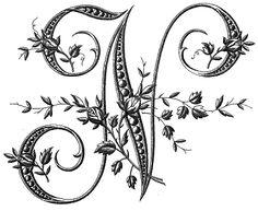 Alphabet letter n Fancy Letters, Large Letters, Monogram Letters, Monogram Initials, Caligraphy Alphabet, Alphabet Stencils, Embroidery Letters, Hand Embroidery, French Alphabet