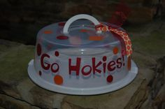 Would be awesome for tailgates!  Virginia Tech Go Hokies Cake Carrier by CraftyCricutChick on Etsy, $12.00