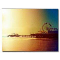 Santa Monica Pier Orange Sunrise Post Card #postcrossing
