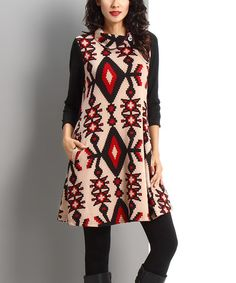 Another great find on #zulily! Mocha Southwest Side Button Dress #zulilyfinds