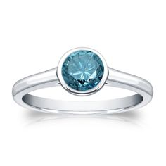 Auriya 14k Gold 3/4ct TDW Round Blue Diamond Solitaire Bezel Ring (Blue, I1-I2) | Overstock.com Shopping - The Best Deals on Diamond Rings