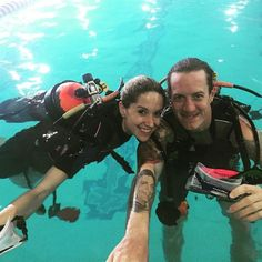"""""""Just a little pre honeymoon prep #teamhubbard"""" --Tyler Hubbard of Florida Georgia Line, who shared this shot of himself and his fiancée, Hayley Stommel, scuba diving on June 4, 2015"""