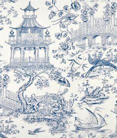 Williamsburg Toile Orientale Porcelain Fabric - $30.45 | onlinefabricstore.net