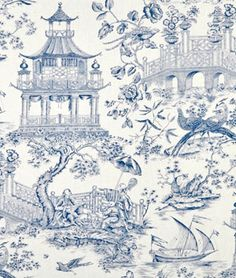 "Williamsburg Toile Orientale Porcelain Fabric (Product ID: 750080):  100% Linen, 54"" Wide, 27"" Horizontal Repeat, $44.32 Cdn. Per Yard - onlinefabricstore.net"