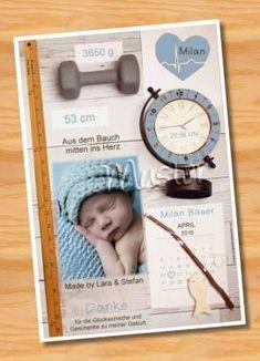 Danksagungskarten Geburt Geburtskarte MUSTER 155 - Bild vergrößern