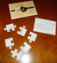 Puzzle piece wedding invites - cute idea because I say to J that I love him to pieces all the time.