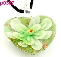 Awesome Murano Art Glass Floral Heart Shaped Pendant #337