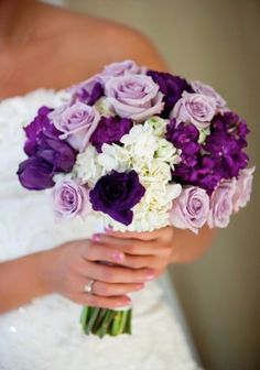 Purple Wedding Flowers I would like purple roses like this bouquet for me but for all the other flowers in wedding be another type of flower. - A guide to telling guests children aren't invited to your wedding including cute poems for your invitations. Purple Wedding Bouquets, Rose Wedding Bouquet, Bride Bouquets, Flower Bouquets, Bridesmaid Bouquets, Rose Bouquet, Wedding Ideas Purple, Purple Wedding Decorations, Peonies Bouquet