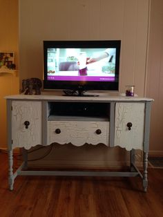 Refurbished Antique Buffet Used As A Tv Stand Did It