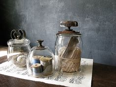 3 Vintaged Shabby Metal Topped Glass Cloches