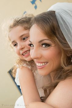 Shot this beautiful blushing bride and her plucky daughter. I love these faces! photographer: Tiffany Rachel