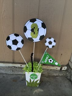 Soccer Birthday Party Theme Centerpiece by FantastikCreations Soccer Birthday Parties, Football Birthday, Sports Birthday, Soccer Party, Sports Party, Birthday Party Themes, Birthday Games, 9th Birthday, Soccer Ball