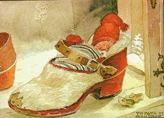 Julekort Trygve Davidsen. Nisse sover i sko. Utg Graphica