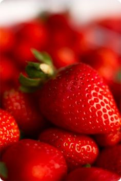 Strawberries my favorite fruit. Pss....Want to know my secret to whiter teeth..? Crush some fresh strawberries onto your teeth and leave on for 30 sec. Your welcome ;)