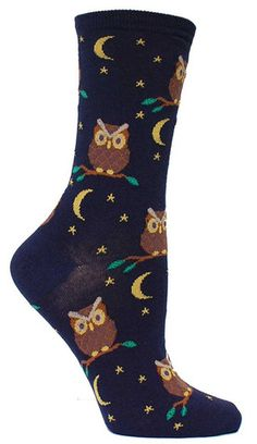 Crew length sock featuring owls & moons. Fits women's shoe size 5-10.