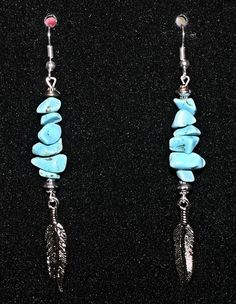 Turquoise Earrings with Silver-tone Feather Dangles