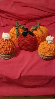 Pumpkin hat, pie hat, apple hat