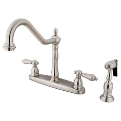 "Kingston Brass KB1758ALBS Heritage 8"" Centerset Kitchen Faucet with Brass Sprayer, Satin Nickel - Price: $299.95 & FREE Shipping over $99     #kingstonbrass"