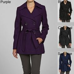 Fight chilly temperatures in this fashionable double-breasted women's wool coat from Via Spiga. This flattering coat is made from soft wool and comes in several attractive colors. The convenient side belt makes it easy to accent - or hide - your waist.