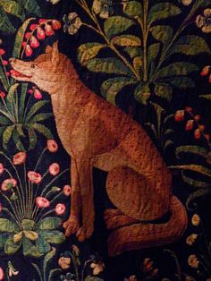 fox, Paris Fox detail from medieval tapestry National Musee Moyen de Ages de Cluny. ParisFox detail from medieval tapestry National Musee Moyen de Ages de Cluny. Medieval Tapestry, Medieval Art, Art And Illustration, Unicorn Tapestries, Medieval Embroidery, Of Wallpaper, Kitty Wallpaper, Tapestry Weaving, Fabric Art
