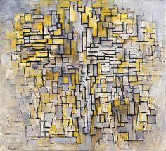 Piet  Mondriaan / Compositie No. VII. 1913 - Guggenheim Museum / doek / 88 x 115