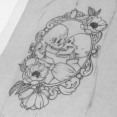 Sketch for tattoo skeletons kissing in frame with peonies