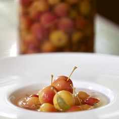 white wine poached crabapples from 100 year old trees from our farm