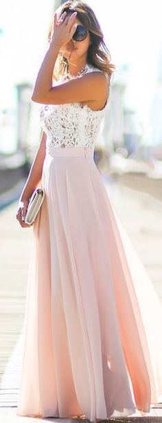 Lace & Locks Pink Maxi Skirt. Love the high waist skirt and that long length!