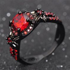 Buy Fashion Flower Shiny Red Ring Red Garnet Women Charming Engagement Jewelry Black Gold Filled Promise Rings Bijoux Femme at Wish - Shopping Made Fun Red Rings, Black Rings, Opal Rings, Gemstone Rings, Emerald Rings, Black Opal Ring, Silver Rings, Sapphire Rings, Aquamarine Rings