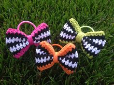 All 3 for 21.00 Neon Crochet Bow Hair Tie on Elastic by KokoHats, $21.00