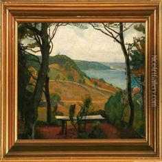 Overlooking Munkebjerg Hill In Vejle oil painting by Einar Wegener -