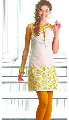 Indian Bollywood Designer Cream Cottan Kurti
