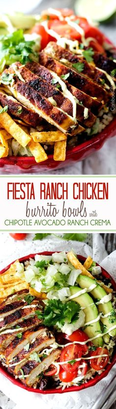 Fiesta Ranch Chicken Burrito Bowls piled with tender, marinated fiesta ranch chicken, cheesy one pot cilantro lime rice with black beans, guilt free Chipotle Ranch Avocado Crema and all your favorite burrito fixins'. An easy, explosion of flavor!
