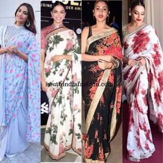 Floral sarees have always been a favorite. Be it small floral prints or large prints they seem to give off girly prettiness. Best Indian Saris Click Visit link above for more info Indian Fashion Trends, Indian Designer Outfits, Indian Dresses, Indian Outfits, Floral Print Sarees, Floral Prints, Simple Sarees, Indian Attire, Indian Wear