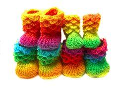 alligator stich booties, pattern | ... : Crocodile Stitch Booties (Baby Sizes) pattern by Bonita Patterns