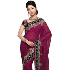 Magenta Faux Chiffon Saree with Blouse Online Shopping: SMZ275