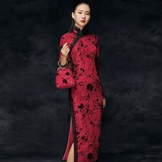 Tea Length Traditional Cheongsam Chinese Dress Full of Floral Lace Cheongsam, Folk Fashion, Asian Fashion, Ao Dai, Prom Party Dresses, Cute Dresses, Mode Kimono, Oriental Dress, Chinese Clothing