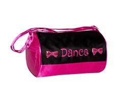 Bows Dance Duffel Bag by Horizon Dance in Black Dance With You, Little Ballerina, Duffel Bag, Black Satin, Dance Wear, Gym Bag, Dance Bags, Shoulder Strap, Dancer