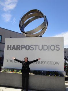 Me in front of the Harpo Studio sign. 13 wonderful & amazing years!