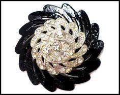 #vintage #ATSocialBiz Rhinestone Brooch, Japanned Black Enamel, Large Fur Brooch, Little Black Dress 1950s Costume Rockabilly Runway, Gift for Grandmother Mom