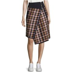 Public School Shula Wool Plaid Skirt featuring polyvore women's fashion clothing skirts midi multicolor plaid wrap skirt wrap skirts woolen skirt zipper skirt plaid midi skirt