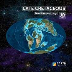 During the Late Cretaceous seen here 90 million years ago the Americas were drifting westward and a large body of water called the Western Interior Seaway divided North America. Huge fish and gigantic reptiles called mosasaurs and plesiosaurs plied the seas. Europe was a chain of islands populated by dwarf dinosaurs and gigantic flying reptiles called pterosaurs. Across the globe on land dinosaurs were ascendant. They exploded in diversity into groups like the tyrannosaurs hadrosaurs…