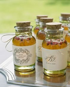 Spicy and Sweet Guests were given jars of peppercorn honey with customized labels as wedding favors.
