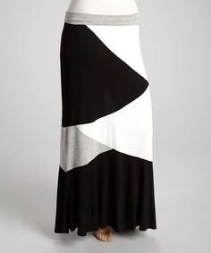 Another great find on #zulily! Black & Ivory Abstract Maxi Skirt - Plus #zulilyfinds