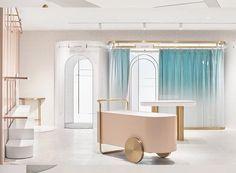 daylab studio completes futuristic 'heyshop' design in shanghai Retail Store Design, Retail Shop, Dark Interiors, Shop Interiors, Window Display Retail, Retail Displays, Shop Displays, Merchandising Displays, Window Displays